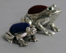 """764. Two Small Silver """"frog"""" Pin Cushions."""
