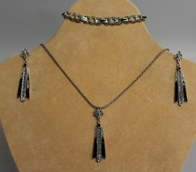 788. A Silver And Onyx Three Piece Deco Style Set,