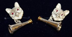 848. A Pair Of Sterling Silver Cufflinks, Modelled As