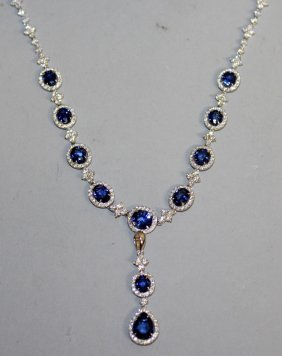 857. A Superb Sapphire And Diamond Necklace,