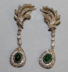 875. A Lovely Pair Of Diamond And Cabochon Emerald