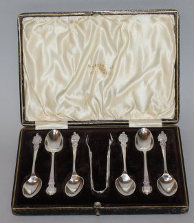 913. A Set Of Six Walker & Hall Teaspoons And Pair Of