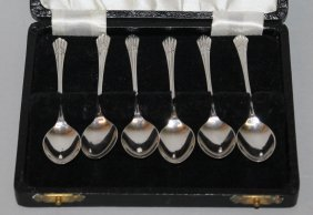 940. A Set Of Six Small Coffee Spoons, In A Case.