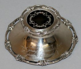 943. A Good Silver Inkstand With Tortoiseshell Top.