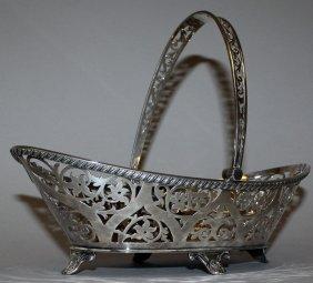 958. A Good Oval Pierced Swing Handle Bread Basket On