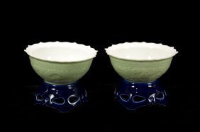 Chinese Porcelain Dragon Pattern Wine Cups (pair)