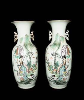 A Pair Of Large Chinese Republic Era Famille Rose