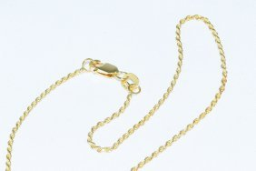 """14k Yellow Gold Dia-cut Rope Chain 18"""" Necklace - 1mm"""