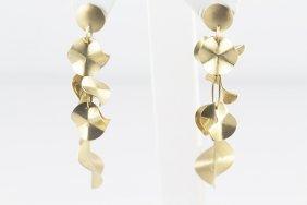 14k Yellow Gold Dangling Earrings W/ Designed Links