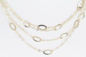 14k Yellow Gold Chain Necklace With 4-strands Of Chains