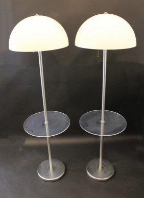 Pair Of Nessen Lucite & Chrome Mushroom Floor Lamps