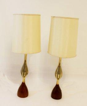 Pair Of Tony Paul Walnut Danish Lamps