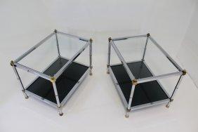 Pair Of Maison Jansen Chrome & Brass End Tables