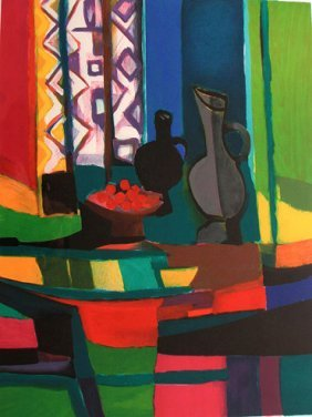 Vases And Cherries By Marcel Mouly