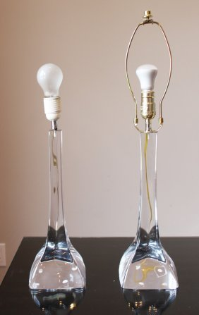 Pair Of French Sevres Glass Lamps