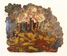 John Glick Plum Tree Pottery Ceramic Wall Plaque