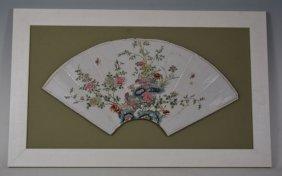 Antique Framed Chinese Porcelain Fan