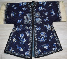 19th C. Chinese Qing Dynasty Embroidery Robe