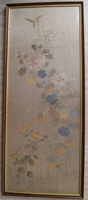 Late 19th Century Chinese Silk Embroidery Panel