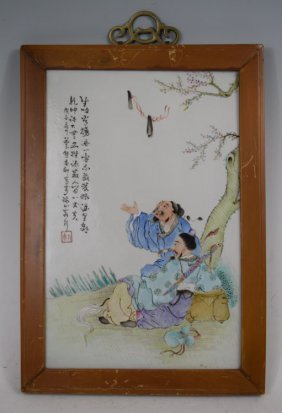 Late 19th C. Chinese Enameled Porcelain Plaque 3 Of 4