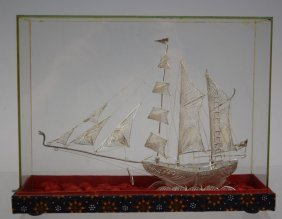 Chinese Silver Export Boat Model In Box