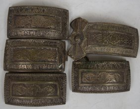 19th Century Persian Silver Inlaid Belt Parts