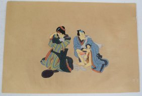 Meiji Period Japanese Erotic Watercolor Painting