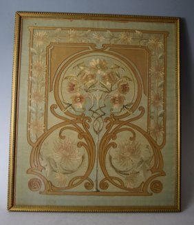Late 18th Century French Silk Framed Embroidery