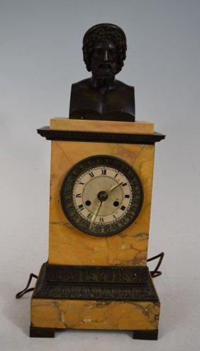 19th Century Bronze Bust On Marble Pedestal Clock