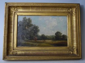 19th Century Landscape Oil On Canvas Paintings