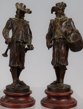 19th Century Pair Of Bronze Musketeers On Marble Base
