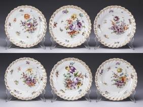 (6) German Dresden Floral Porcelain Plates, Marked