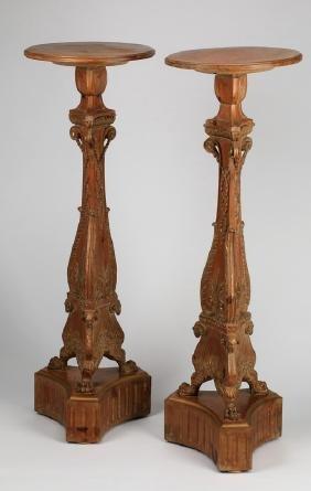 """(2) 19th C. Carved, Gilt Pedestals, 43""""h"""