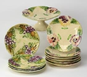 11-Pieces French Choisey Le Roi Majolica