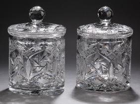 "(2) Cut Crystal Pinwheel Pattern Biscuit Jars, 9""h"