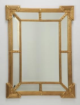 "Carved Gilt Wood Beveled Mirror, 45""h"