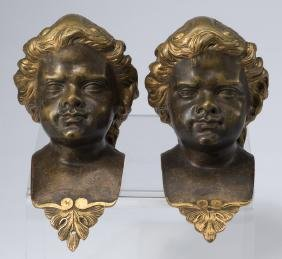 "Pair Of Gilt Bronze Childs' Busts, 7""h"