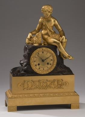 "19th C. Gilded & Patinated Bronze Mantel Clock, 17""h"