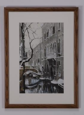 Contemporary W/c & Gouache On Paper Of Snowy Venice