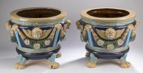"""(2) Majolica Jardinieres In The Style Of Minton, 16""""h"""