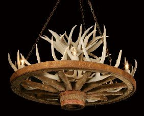 Wagon Wheel Chandelier With Antlers