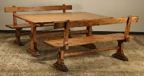 Knotty Pine Provincial Farm Table W/ Benches