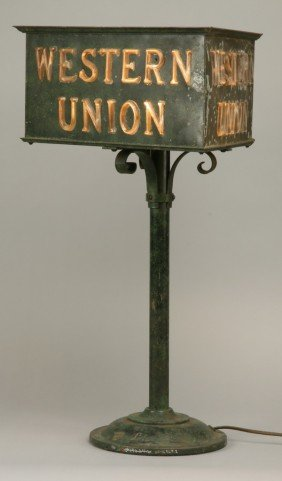 Patinated Bronze Western Union Lighted Sign