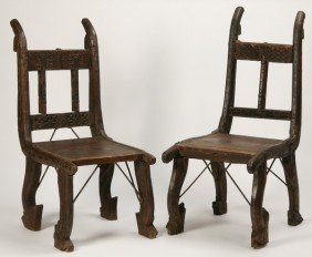 (2) Chairs Crafted From Antique Afghan Carts