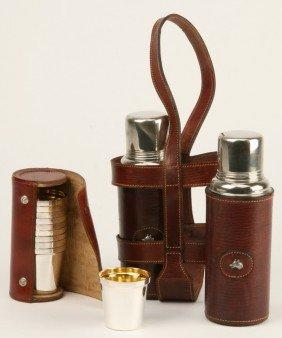 Gentlemen's Decanters W/ Cups And Case