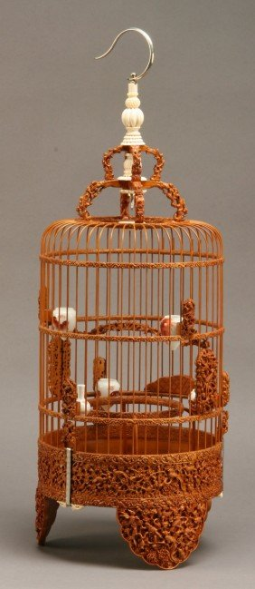 Early 20th C. Carved Birdcage W/ Ivory