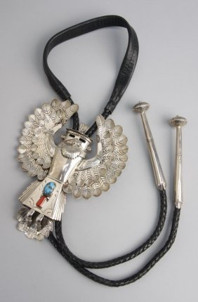 Large Navajo Sterling Kachina Bolo, Marked