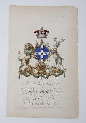 (2) 18th C. Hand Colored Heraldic Engravings