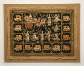 "Early 20th C. Embroidered Thai Tapestry, 46""h"