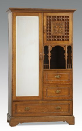 1373 Old Chifferobe Mirrored Door As Is Finish Lot 1373